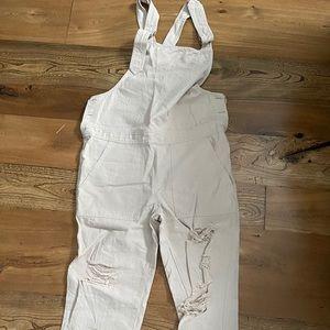 Distressed linen overalls